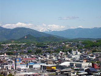 Ena, Gifu - View of central Ena, Ena Valley Amusement Park and Mount Ontake