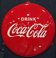 Enamel advertising sign, Coca Cola, Langcat Bussum.JPG