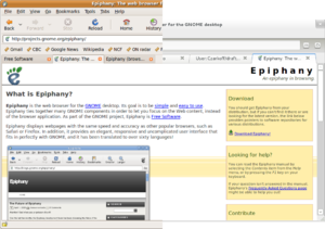 GNOME Web - Epiphany 2.26.1 (left) showing its larger user interface chrome area than in 3.2.0 (right)