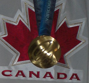Eric Staal - Closeup of Staal's gold medal from the 2010 Winter Olympics