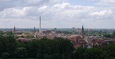 Erlangen Blick vom Burgberg auf die Innenstadt 2009 001.JPG
