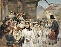 Erstkommunionkinder auf dem Dorfplatz 19Jh.jpg