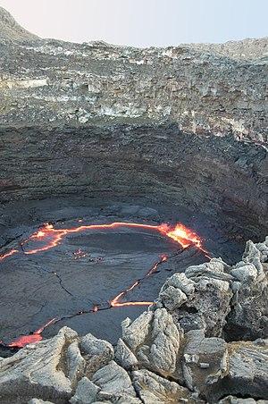 Erta Ale - The lava lake in the caldera of Erta Ale.