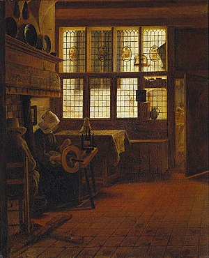 Esaias Boursse - Esaias Boursse, Interior with Woman at Wheel, 1661