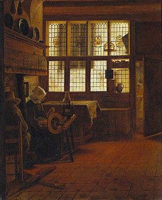 Esaias Boursse - Esaias Boursse, Interior with Woman at Wheel, 1661
