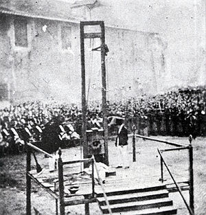Capital punishment in Italy - Execution of capital punishment by guillotine in 1868, shortly after the birth of modern Italy. The death penalty was subsequently abolished in 1889 and only revived under Italian Fascism.