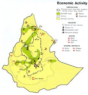 Economy of Ethiopia - Map of economic activities in Ethiopia and Eritrea (1976)