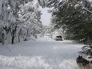 Euripidou Street, Dionysos,Greece in snow.