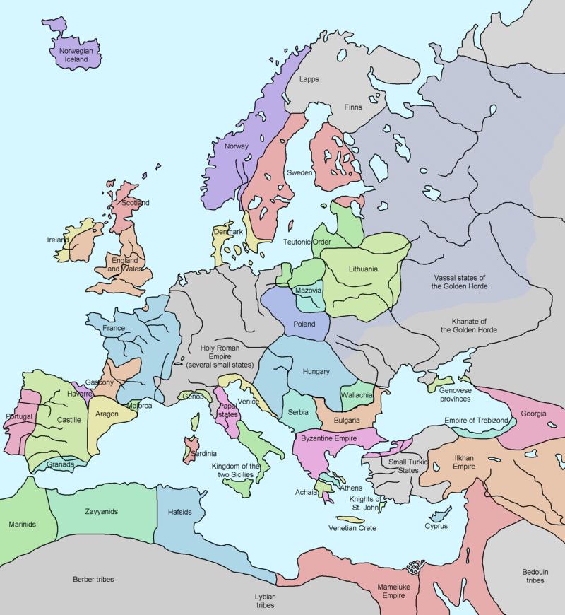 اروپا در دوران فئودالی. حدود ۱۳۲۸ م.