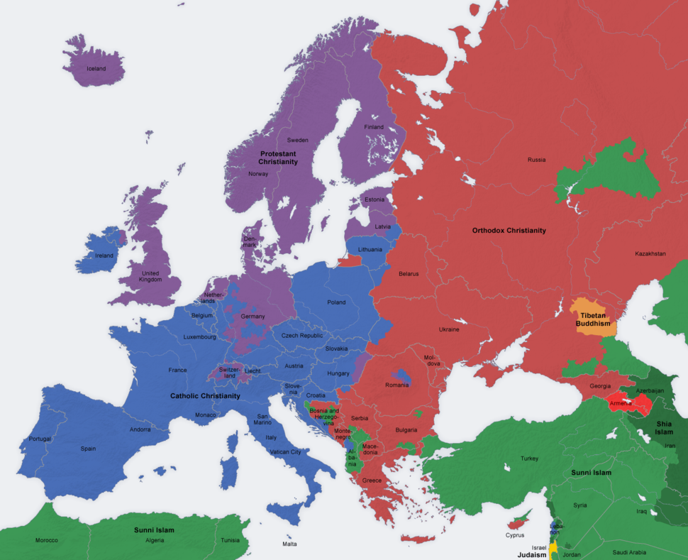 Europe religion map situation 1950 en