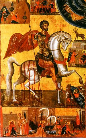 Saint Eustace - Greek Orthodox icon of St. Eustathios