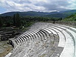 Excavated and reconstructed seats in the western part of the Roman Theatre, Heraclea Lyncestis, Republic of Macedonia (7451136298) (3).jpg