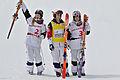 FIS Moguls World Cup 2015 Finals - Megève - 20150315 - Justine Dufour-Lapointe, Hannah Kearney et Chloé Dufour-Lapointe.jpg