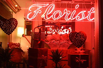 Neon - Neon sign in a Hamden, Connecticut, florist shop.