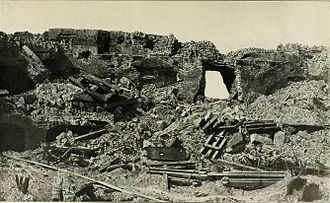 Second Battle of Fort Sumter - Photograph taken September 8, 1863, shows the breach compromised at Fort Sumter's wall facing Morris Island during bombardment of Fort Sumter. The naval party attempted to enter the fort here.