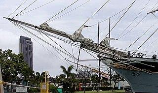 Bowsprit spar extending forward from a sailing vessels prow