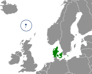 Faroese independence movement - The Faroe Islands (circled, blue) and Denmark (green)