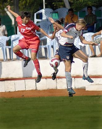 Sport in North Korea - Jang Il-ok competing for the ball