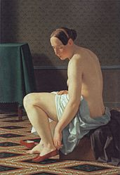 Christoffer Wilhelm Eckersberg: Naked Woman putting on her Slippers
