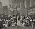 """Festspiel """"Hollands Blütezeit"""" der Düsseldorfer Malkasten-Redoute 1912. Bühnenbild mit Stadtbild Amsterdam von Georg Hacker.jpg"""