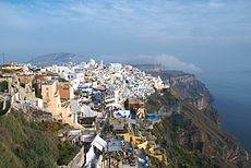 Greece enjoys a typical sunny and warm Mediterranean Climate (View from Fira, the capital of Santorini).