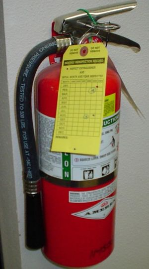 Label - Fire extinguisher with permanent and temporary labels