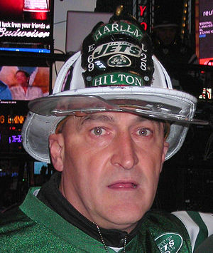 Fireman Ed - Ed at a Jets Championship Rally of the 2009 playoffs 1–21–10 in Times Square.