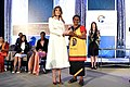 First Lady Melania Trump Poses for a Photo With International Women of Courage Awardee Veronica Simogun of Papua New Guinea (33338550510).jpg