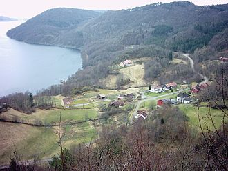 Lyngdal - View of Fleseland on the Rosfjorden
