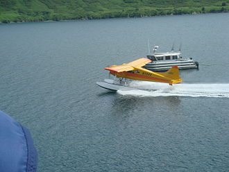 Raspberry Island (Alaska) - A floatplane takes guests from Raspberry Island Remote Lodge for a day of bear viewing on the Katmai coast.