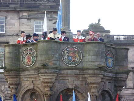 On the 500th anniversary of the battle a minute's silence for the town's dead was observed at the Mercat Cross in Edinburgh Flodden commemoration, Edinburgh Cross, 2013.JPG