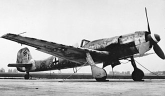 Focke-Wulf Ta 152 - Ta 152H, unknown date. The greatly extended wing is clearly evident in this image.