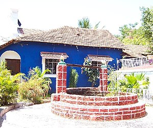 Fontainhas (quarter) - A heritage house in Fontainhas with a wishing well