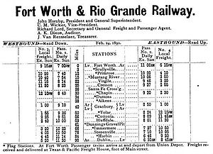 Fort Worth and Rio Grande Railway - Timetable of the Fort Worth and Rio Grande Railway in 1890, when it terminated at Dublin.