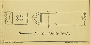 George Thompson (engineer) - The simple and effective chain boom at Fortín designed by Thompson.  Made of timbó logs joined end-to-end by iron shackles, it floated underwater so it could not be sunk by naval gunfire.  (Thompson, 353 and Plate V.)