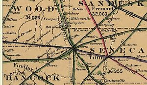 1882 railroad map area around Fostoria, Ohio