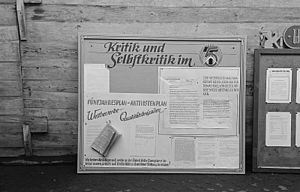 """Wall newspaper - East German factory wall newspaper making use of the behavioral control mechanism of """"Criticism and Self-Criticism."""""""