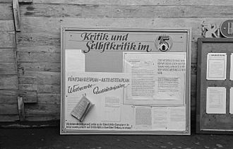"Self-criticism - East German factory wall newspaper making use of the behavioral control mechanism of ""Criticism and Self-Criticism""."