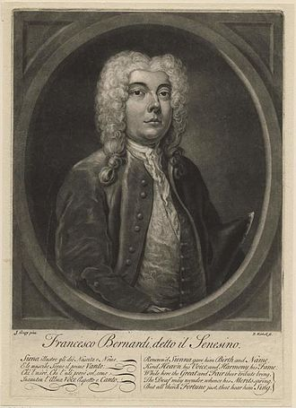 """Senesino - Portrait of the contralto castrato Francesco Bernardi, better known under his stage name Senesino; at the same time a parody of the castrati and their singing – and the wealth they earned with it. The lines beneath the portrait read, in Italian and English: """"Renown'd Sienna gave him birth and name / Kind Heaven his Voice and Harmony his Fame / While here the Great and Fair their Tribute bring / The Deaf may wonder whence his Merits spring / But all think Fortune just, that hear him sing"""