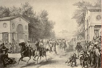 Free City of Frankfurt - Occupation of Frankfurt through the Prussian Cavalry on 16 July 1866, pencil drawing from Johann Heinrich Hasselhorst. Historical Museum, Frankfurt.