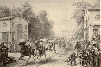 Free City of Frankfurt - Occupation of Frankfurt through the Prussian Cavalry on 16 July 1866, pencil drawing from Johann Heinrich Hasselhorst. Historical Museum, Frankfurt.