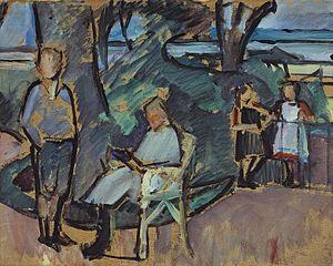 Franz Nölken - 'Kindergruppe im Park', c. 1912 - oil-painting on paper