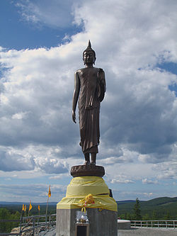 Statue at the buddhist temple construction site in Fredrika