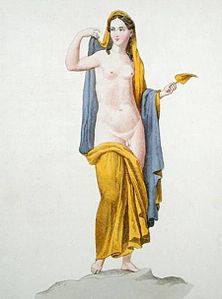 French School, Hermaphroditus, from a Herculanese fresco (c.1800, coloured engraving).jpg