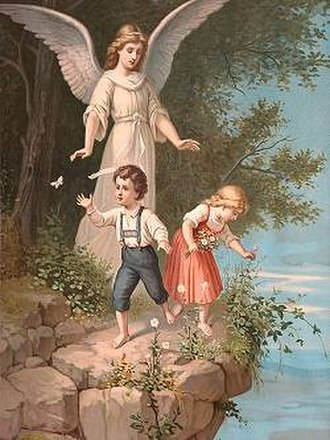 Angela (given name) - A guardian angel protecting children, from a 19th century print