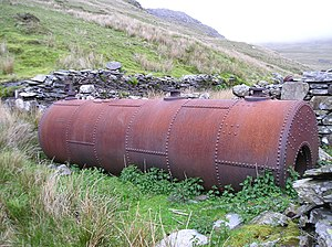 Fron-Boeth and Pant Mawr Quarries - An old Lancashire boiler next to the mill at Fron-Boeth Quarry