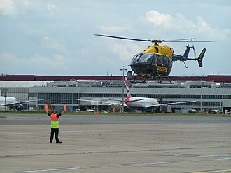 Police aviation in the United Kingdom - G-MPSC is an EC145 of NPAS London landing at Heathrow Airport for refuelling