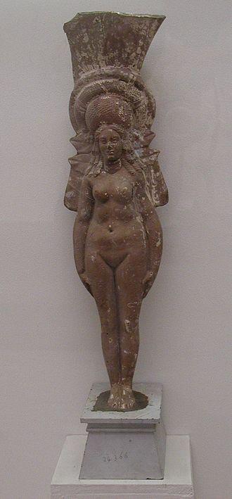 Tanagra figurine - Molded terracotta nude of a goddess, Alexandrian (Greco-Roman Museum, Alexandria)