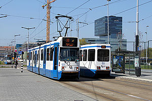 Uni-directional vehicle - Most trams on the Amsterdam tram network are uni-directional vehicles. Notice the distinguishable rear end of the vehicle on the right.
