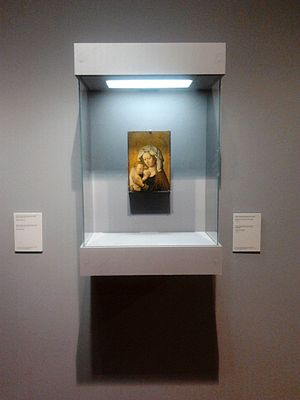 Display case - Display case shows and protects a painting by a follower of Robert Campin